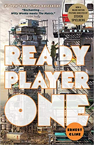 Cover of Ready Player One showing Wade Watts climbing the stacks.