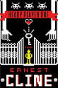 Cover of Ready Player One showing gate, figure and key in 8-bit