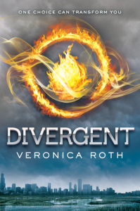 Cover of Divergent by Veronica Roth. Image: Flaming bowl of fire imposed over Chicago's skyline