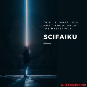 Image: Huge doors splitting open, revealing line of bright white light. Text: This is what you must know about the mysterious SciFaiku.