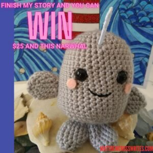 Photo of crocheted narwhal amigurumi, which is a prize for the contest, along with $25