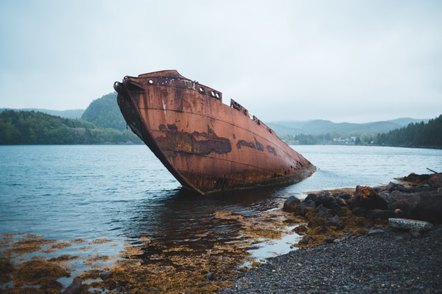 A rusted, red barge half-sunken into a river not far from shore.