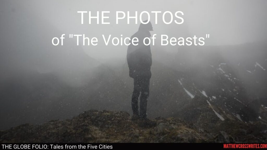 Superimposed image of figure wearing a hood standing on a mountaintop.